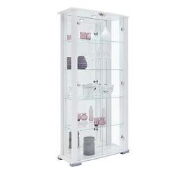 Stella 2 Glass Door Display Cabinet - White Gloss