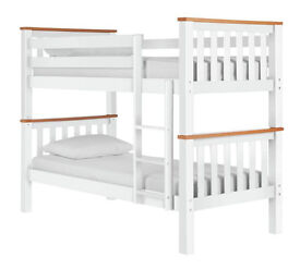 Heavy Duty Single Bunk Bed Frame - White and Pine