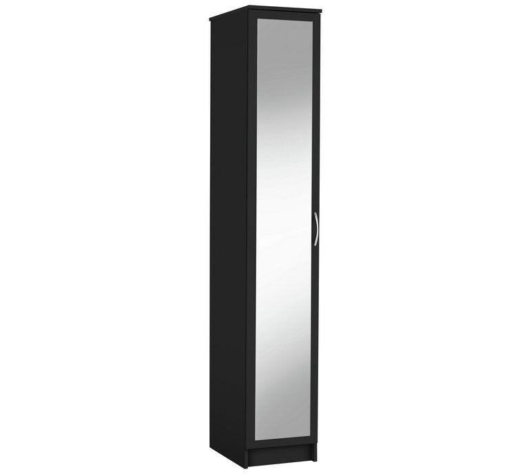 Collection Cheval Single Mirrored Wardrobe - Black