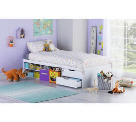 Callum Single Cabin Bed Frame with Pull out Desk - White