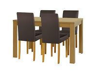 HOME Penley Pentley Oak Ext Dining Table & 4 Chairs - Choc