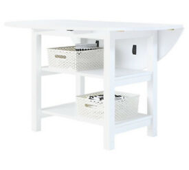 Folding White Extendable Table with Storage