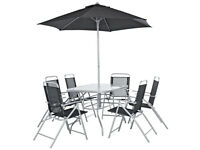 6 seat, with table and parasol- quick sell