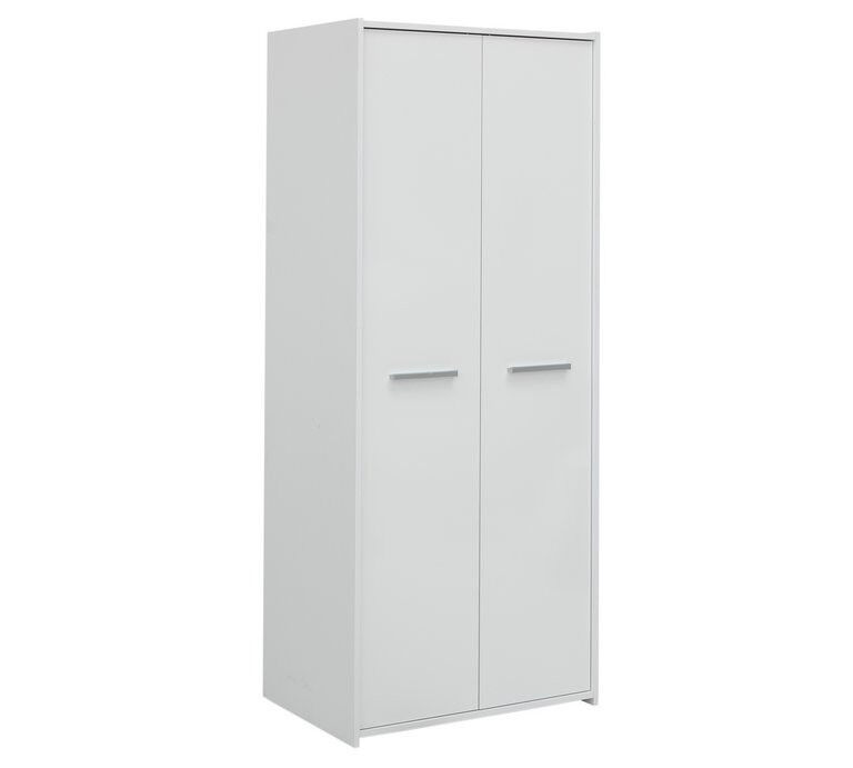 HOME New Sywell 2 Door Wardrobe - White & White Gloss