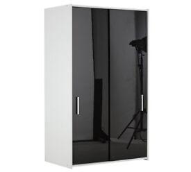 New Sywell 2 Door Sliding Wardrobe-White & Black Gloss