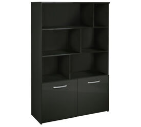 Hygena Hayward 2 Door Shelving Unit - Black Gloss