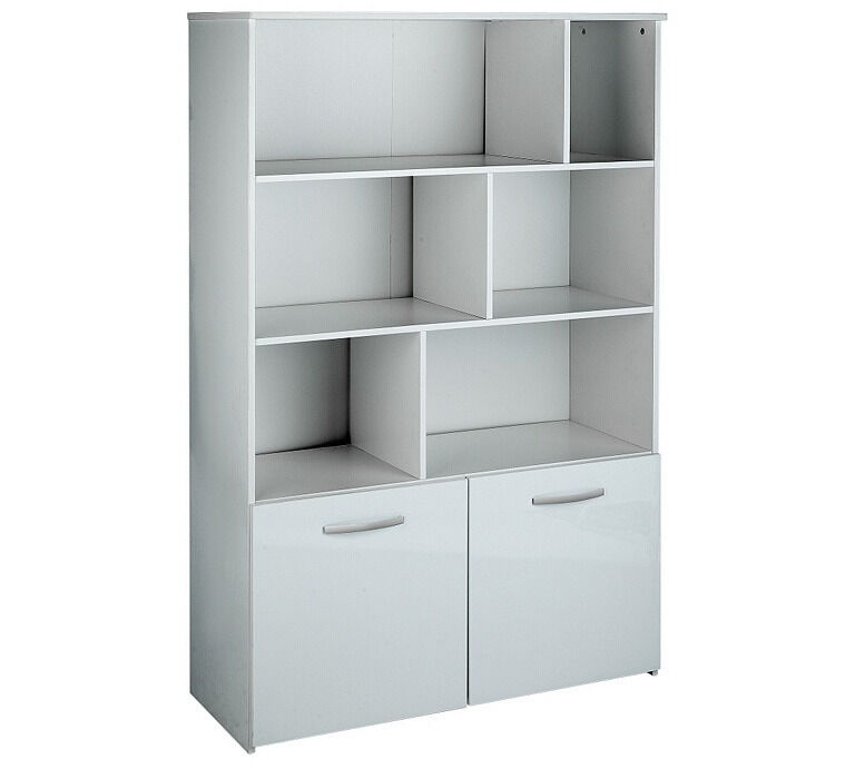 Hygena Hayward 2 Door Shelving Unit - White Gloss