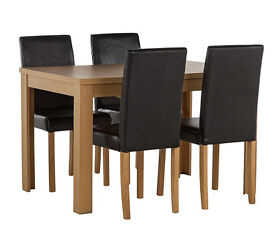 HOME Penley Pentley Oak Ext Dining Table & 4 Chairs Black