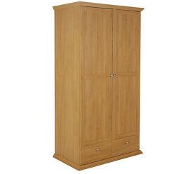Canterbury 2 Door 2 Drawer Large Wardrobe - Oak effect