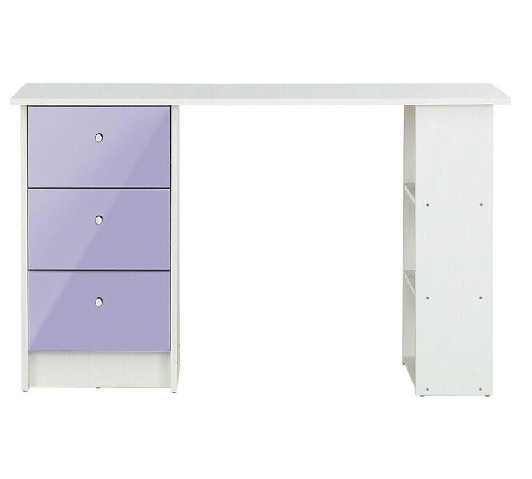 New Malibu Gloss 3 Drawer Desk - Lilac