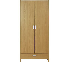 HOME New Capella 2 Door 1 Drawer Wardrobe - Oak Effect