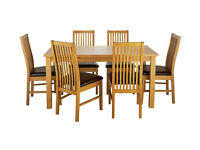 HOME Ashdon Solid Wood Table & 6 Paris Chairs - Choc