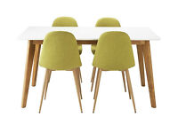 Hygena Beni Dining Table and 4 Chairs - Green