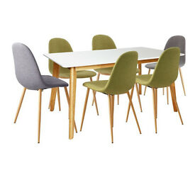Hygena Beni Dining Table and 6 chairs - Green Grey