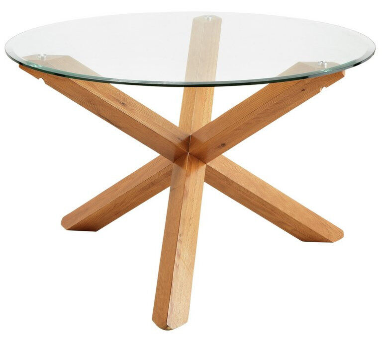 Heart of House Oakington Solid Oak and Glass Dining Table