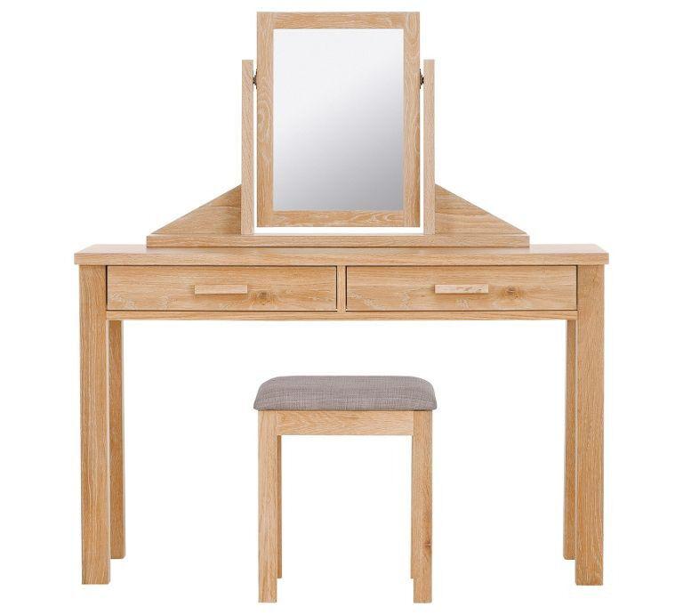 Schreiber Harbury Dressing Table, Mirror & Stool - Oak