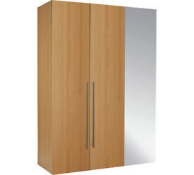 Hygena Atlas 3 Door Mirrored Tall Wardrobe - Oak Effect