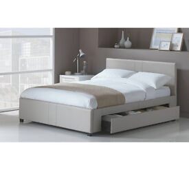 Hygena Keating 1 Drawer Latte Bed Frame - Kingsize