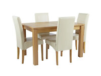 Collection Swanbourne Oak Veneer Ext Table & 4 Chairs-Cream