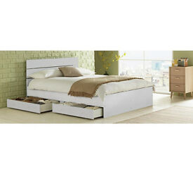 HOME Bedford Double 4 Drawers Bed Frame - White