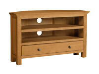 already built up Kingsbury Oak & Oak Veneer TV Corner Unit