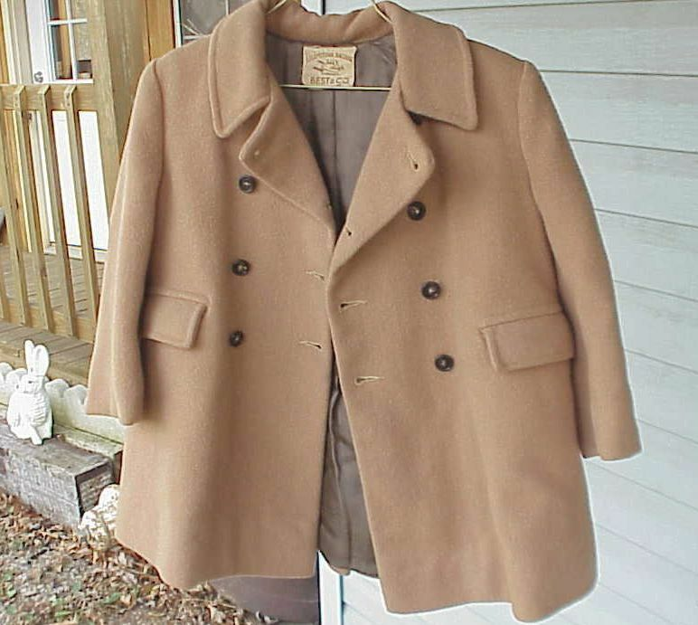 Antique Childs Camel Hair & Wool Winter Coat Hat Leggings