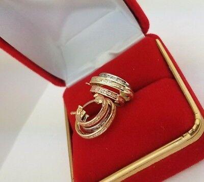 14K Solid Yellow White Rose Gold Eternity Endless Hoop Earrings Diamond Fancy