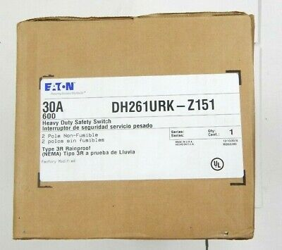 Eaton Dh261urk Z151 Heavy Duty Safety Switch 2 Pole 30 Amp 600v Non-fusible New