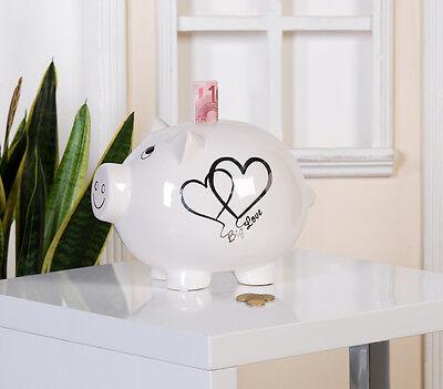 86968 Sparschwein Big Love die Große Liebe weiß / silber