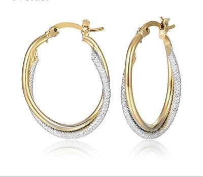 (Delightful 18k gold gp two tone smooth & rope style twisted 1 inch hoop earrings)