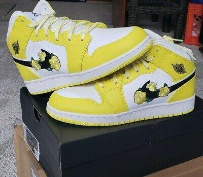 Nike Air Jordan 1 Retro Mid Dynamic Yellow Floral Flower Size 7 AV5174-700