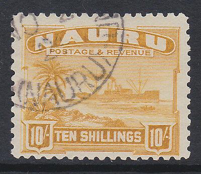 NAURU 1924-48 10/- YELLOW (ROUGH SURFACED) SG 39A FINE USED.