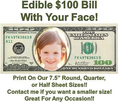 Dollar Bill Cake (Money 100 Dollar Bill Face Edible Cake Topper Image Face Money Edible Cake)