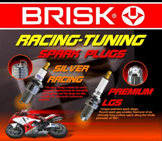 2x Brisk AOR12LGS = High Performance Motor Cycle Silver LGS Spark Plugs + Bhp
