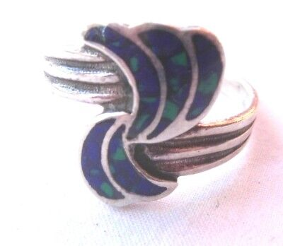 Sterling silver ring with blue & green enamel swirl pattern vintage size R.5   Blue Silver Patterned Enamel Ring