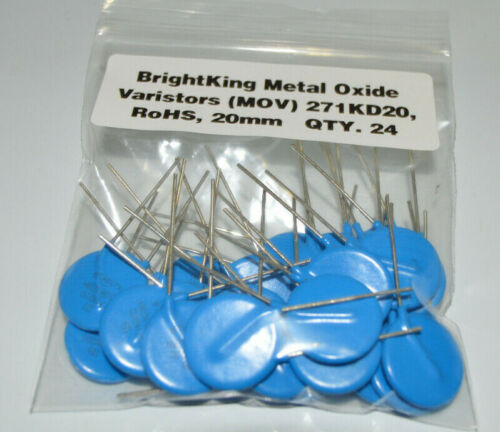 24-PK BrightKing Metal Oxide Varistors (MOV) 271KD20, RoHS, 20mm (24 Pieces) NEW