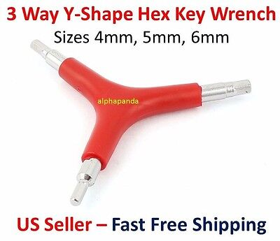 New 3-Way Y Type Bike Cycle Allen Hex Wrench Tool 4//5//6mm Black R US SELLER