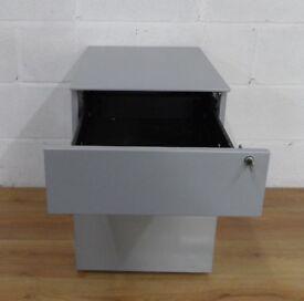 Under Desk Mobile Pedestal - Silver Metal 2 Drawer - FREE DELIVERY