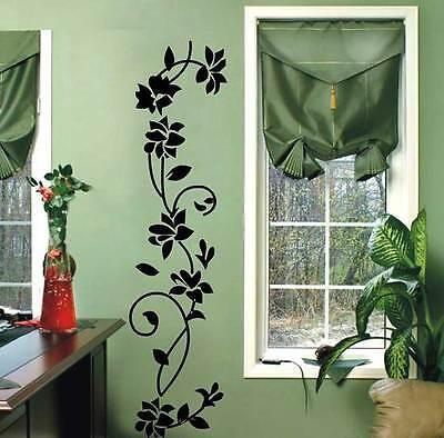 DIY Black Flower Vinyl Mural Decal Art Wall Sticker For Home Living Room Decor for sale  USA