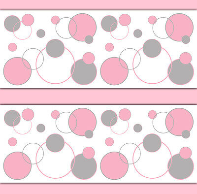Pink Grey Gray Polka Dot Wallpaper Border Wall Decals Baby Girl Nursery Sticker