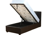 single, storage, ottoman lift, leather bed, frame,with padded mattress. single bed frame