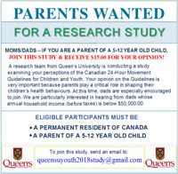 PARENTS WANTED FOR $$ PAID $$  RESEARCH STUDY!