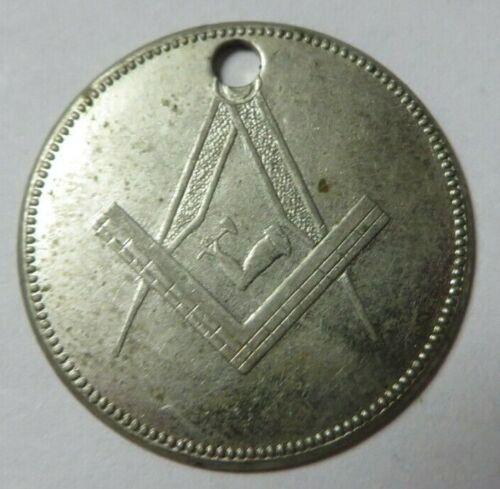 Vintage Blank MASONIC Identification Key Fob Tag Round FREEMASONRY Nickel