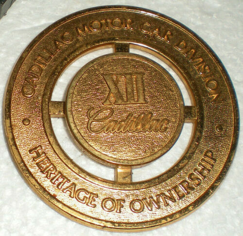 Cadillac Heritage Of Ownership Brass Badge Grill Emblem Medallion XII & Bracket