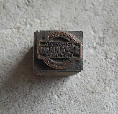 Vintage Speakman Fixtures Wood Metal Letterpress Print Block Stamp