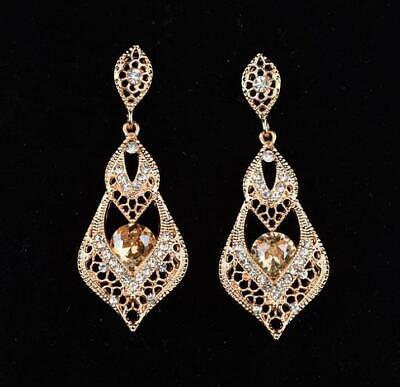 Champagne gold Crystal Elegant Bridal Formal Teardrop Dangle