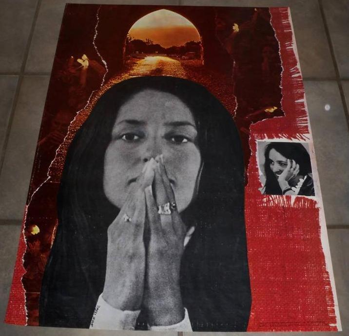 ORIGINAL 1968 VINTAGE JOAN BAEZ COLLAGE PROMOTIONAL ANTI VIETNAM WAR ERA POSTER