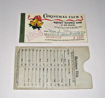 1958 Whitney National Bank New Orleans Christmas Savings Club Booklet w/sleeve (Whitney Bank)