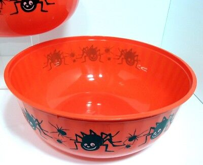 "VTG 2004 Large 11.5"" Halloween BLACK SPIDERS Trick or Treat Orange Candy Bowl"