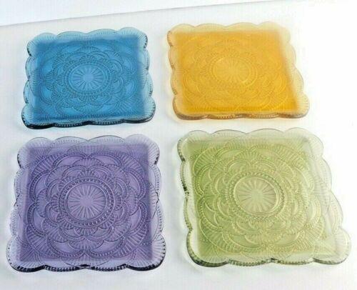 (4) Vintage Multi Color Square Glass Dessert Plates